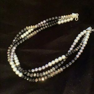 Beautiful 3 Strand Necklace Faux Pearl and Beads
